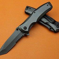 All Black Full Tang Swtooth Rescue Pocket Folding Skinner Knife-7.87''