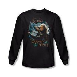 The Hobbit - Men'S Long Sleeve Shirt Legolas With Knives, Medium, Black