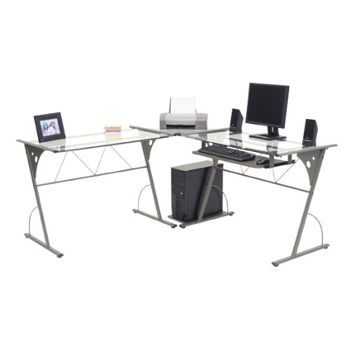 Picture of Comfortable Modern Corner Computer Desk - Pewter and Clear Glass (B004XEPMZM) (Computer Desks)