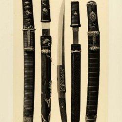 1883 Heliogravure Japanese Kaiken Tanto Daggers Bishamonten Heliog Dujardin - Original Heliogravure