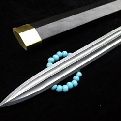 Chinese Han Jian Swords Handmade Damascus Steel Blade Black Wood Scabbard Brass