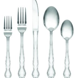 Royal Collection Stainless Steel Flatware Set, 60 Piece - Service For 12, Classic Sunflower Design