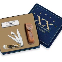 Case Cutlery 06019 Hunter Trapper Gift Set With Pocket Stone And Leather Sheath Stainless Steel Blades Amber Bone