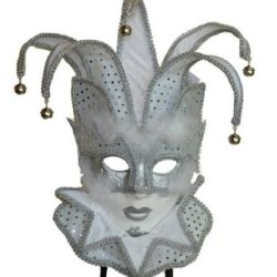 White Womens Jester Mask With Collar