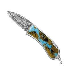 Santa Fe Stoneworks Vein Turquoise Damascus Key Ring Pocket Knife