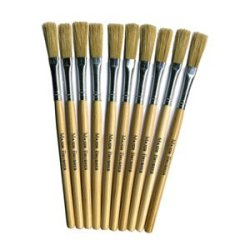 10 X Papier Paper Mache Paste Brushes Art & Craft Hog Hair Short Handle Brushes
