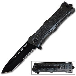 Silver Handle Tanto Blade Special Ops Pocket Knife Assisted Open