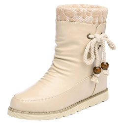 Guciheaven Women Winter New Style Add Wool Warm Mid-Calf Snow Boots(5 B(M)Us, Beige)