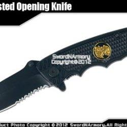 Black Tactical Spring Assisted Opening Knife Serrated Pocket Folder Wolf Emblem