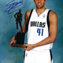 Dirk Nowitzki Autographed Photo - 11X14 Mvp Trophy Coa - Autographed Nba Photos