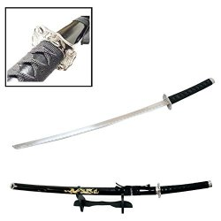 "40"" Katana Sword Black Dragon 440 Steel W/ Stand Collectible Samurai Ninja"