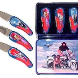 3 Pc Set Motorcycle Collector Knives Kfk246M3T - Pocket Knives