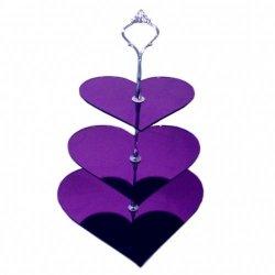 Three Tier Purple Mirror Heart Cake Stands - Medium + Silver Handle