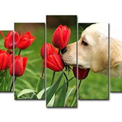 Green 5 Piece Wall Art Painting Golden Retriever Puppy Smelling The Tulips Prints On Canvas The Picture Animal Pictures Oil For Home Modern Decoration Print Decor For Kids Room