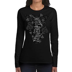 Women'S Skull With Crowns Black Long Sleeve (Medium)