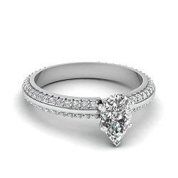 Fascinating Diamonds 1.3 Ct Pear Shaped Diamond Knife Edge Engagement Ring Gold Vs1 Gia