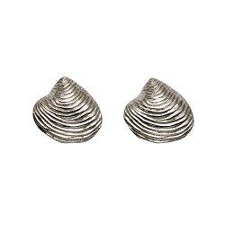 Sterling Silver Clam Shell Stud Earrings