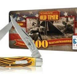 Schrade 77Brbsat Old Timer Muskrat Pocket Knife With Boy Scouts Of America 100Th Anniversary Collector'S Tin, Brown Pick Bone Handle
