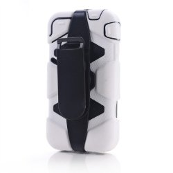 Meaci® Iphone 4/4S 4 In 1 White Defender Body Armor With Tpu Clip Against Shocks Hard Case