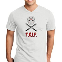 Scary Mask With Machete - Tgif Adult V-Neck T-Shirt - White - Small
