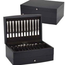 Reed & Barton Falmouth One Drawer Flatware Chest, Dark Espresso With Brown Lining