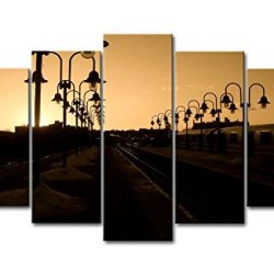 5 Panel Wall Art Painting Sunset Iron Road Lights Prints On Canvas The Picture City Pictures Oil For Home Modern Decoration Print Decor