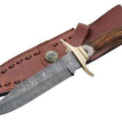 Szco Supplies Damascus Brass Guard Bowie Knife