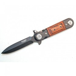 """New 8"""" Black And Wood Spring Assisted Knife Metal Handle With Clip"""