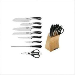 Master Cutlery Top Chef 9 Pc. Set Ice Tempered Stainless Steel Blades Hollow Ground Accents