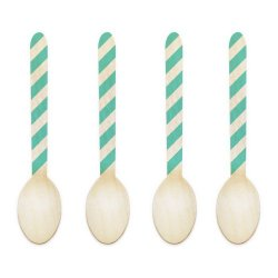Dress My Cupcake 3.75-Inch Natural Wood Dessert Table Spoon, Tiffany Blue Striped, Case Of 50