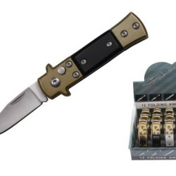 12 Piece Assorted Styles Mini Automatic Pocket Knives With Push Button And Display Case Yc-R-Fk-712