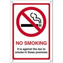 No Smoking Premises Sign Sign States: No Smoking. It Is Against The Law To Smoke In These Premises. 150 X 200Mm. Self Adhesive Vinyl.