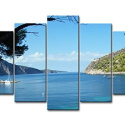 Blue 5 Piece Wall Art Painting Cephalonia Greece Blue Water Several Boat Pictures Prints On Canvas Seascape The Picture Decor Oil For Home Modern Decoration Print For Bedroom