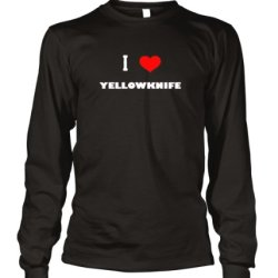 I Love Yellowknife Canada City Long Sleeve T-Shirt Tee Top Black L
