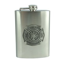 8Oz Fire Fighter Emblem Flask