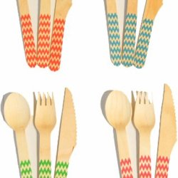 Perfect Stix Printed Wooden Chevron Wooden Cutlery ( Pack Of 36)