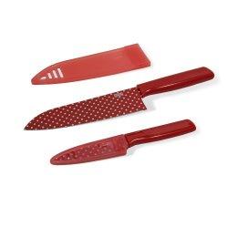 Kuhn Rikon Colori Art Chef'S And Paring Knife, Red Polka Dot