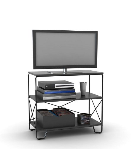 Image of Flat Panel LCD TV Stand with 3 Tier Black Shelves (AZ00-49036x21339)