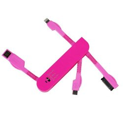 3 In 1 Compact Universal Usb Multi Charger For Mobile Phone And Cellular Devices Swiss Knife Foldable (Pink)