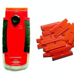 100 Plastic Double Edged Razor Blades And Long Handled Red Mini Scraper