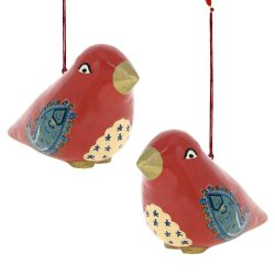 Hanging Ornament Pair Of Birds Decor Paper Mache For Valentine Tree 4.75 Inch