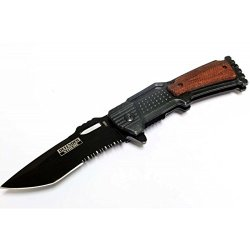"""New 8"""" Defender Extreme Gun Design Spring Assisted Knife With Serrated Stainless Steel Blade - Black"""