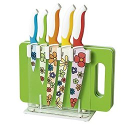 "Genius-Germany ""Stray Flower"" Knife Stand And Cutting Board Set"