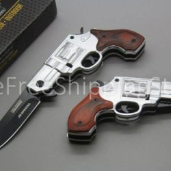 Tac Force Silver Gun Knife With Black Aluminum Revolver Handle And Red Wood Overlay 440 Black Stainless Steel Blade
