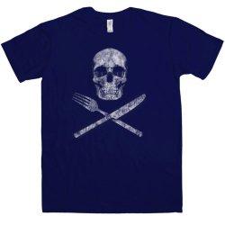 Refugeek Tees - Mens Knife Fork And Skull T Shirt - Navy - Large