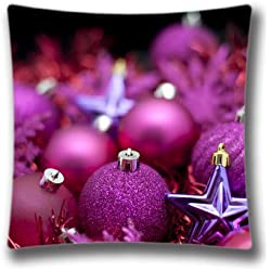 Photo Of Purple Christmas Decorations Pillow Case Decorative Sofa Pillow Cushion 18x18inch 2 Sides printing