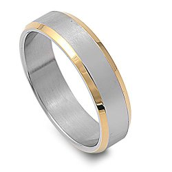Two Toned Knife Edges Ring 6Mm Stainless Steel Size 8