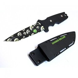 """New 10"""" Zombie Killer Stainless Steel Hunting Knife With Sheath & Belt Clip 6942"""