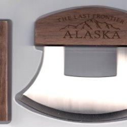 Alaskan Ulu Etched Mountain Vista Wood Handle Knife & Display Stand