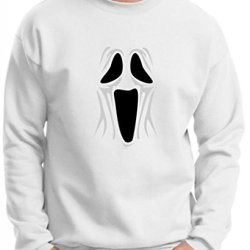 Spooky Ghost Face Premium Crewneck Sweatshirt Small White